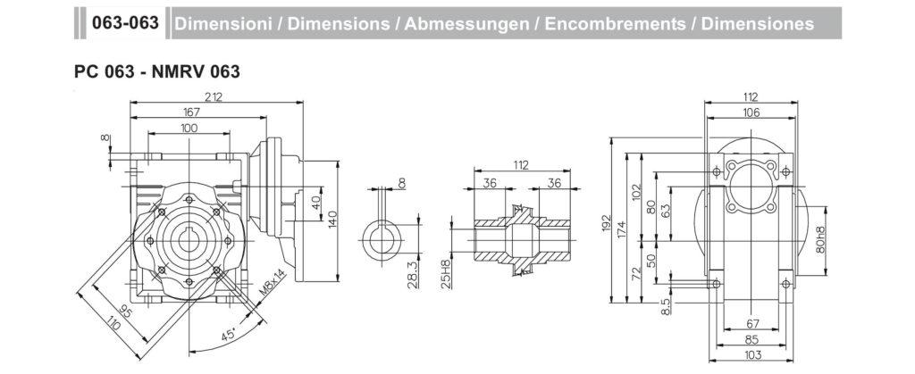 Мотор-редуктор PC 63 NMRV63
