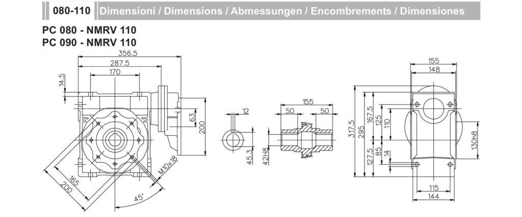 Мотор-редуктор PC 80 NMRV 110