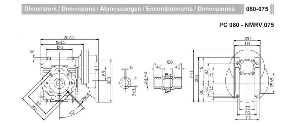 Мотор-редуктор PC 80 NMRV 75