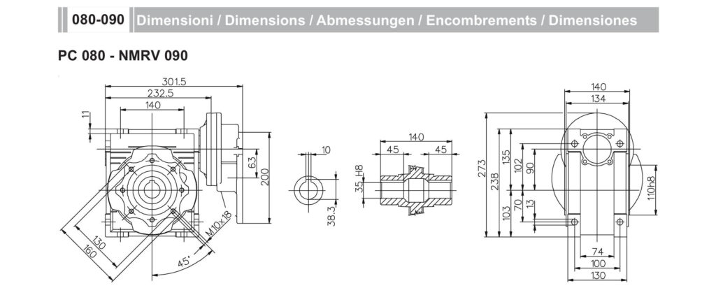 Мотор-редуктор PC 80 NMRV 90