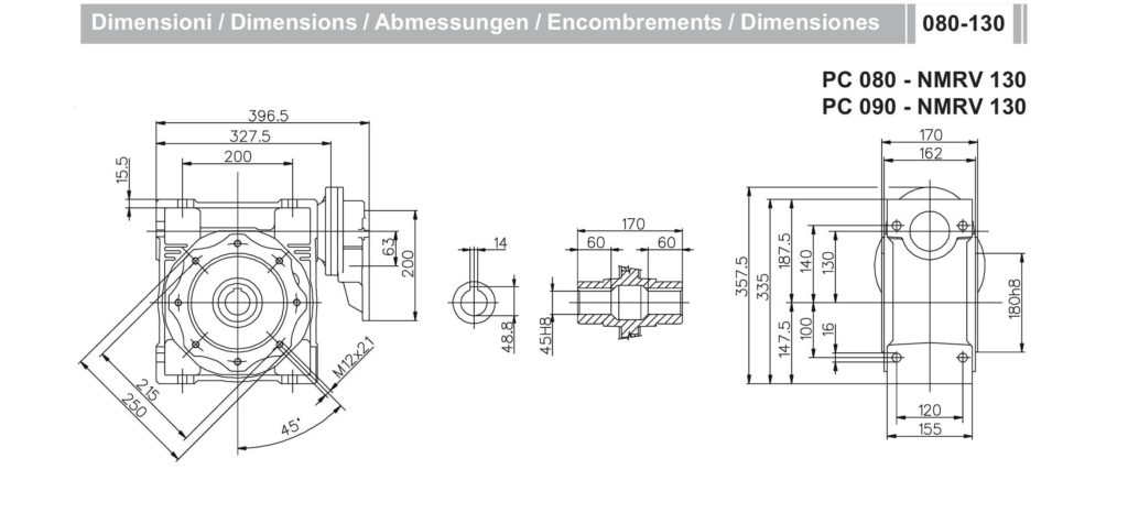 Мотор-редуктор PC 90 NMRV 130